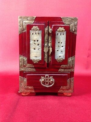 *REDUCED*Beautiful Chinese Vintage Wooden Jewelry Box w Metalwork & Carved Stone