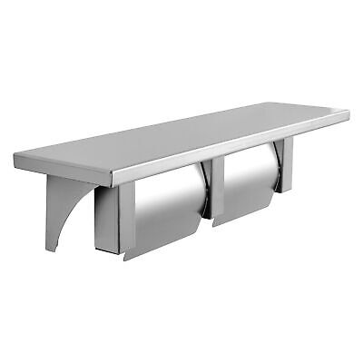 Double Roll Toilet Paper Holder and Shelf Stainless Steel Satin Finish Hooded