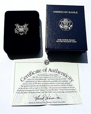 Cased U.S.A.2002 Walking Liberty mm W Fine Silver Proof One Dollar COA