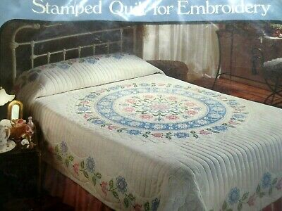 tobin stamped medallion bed quilt for embroidery PLUS dmc floss threads 90x103