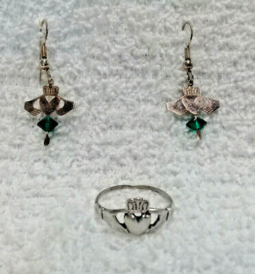 Vintage Sterling Silver Claddagh Jewelry; 1 - pr. Earrings & 1 - Size 7 Ring