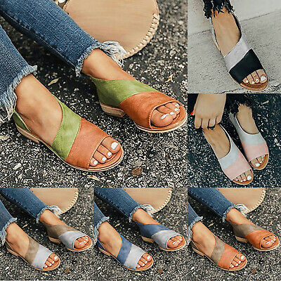 Womens Ladies Summer Flat Sandals Casual Open Toe Slip On Boho Beach Shoes Size