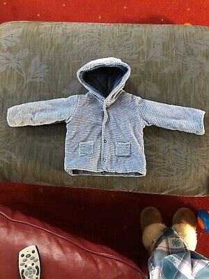 Marks And Spencer Baby Boy Blue & White Stripe Hoodie size 3-6 Months