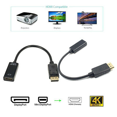 Mini Displayport DP Male To HDMI Female 4K 1080P Adapter Cable For Projector TV