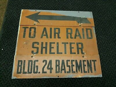 1930s/40s Cold War Era Air Raid Shelter Metal Sign RARE