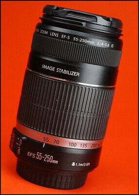 Canon EF-S 55-250mm F4-5.6 Image Stabilization AF Zoom Lens. With Rear Caps