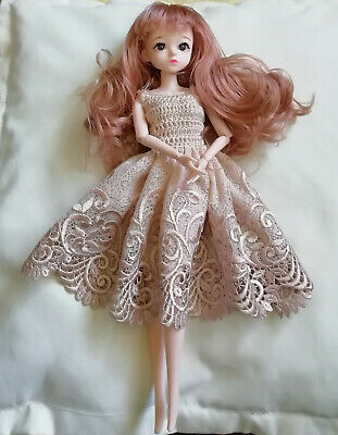 """Doll Clothes Hand Crochet Dress For 12"""" Fashion Doll, Barbie or Sindy by Sian"""