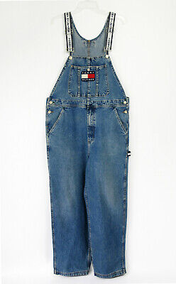 9a52884a Vintage 90s TOMMY HILFIGER Denim Overalls Flag Spell Out Jeans Distressed  Sz L