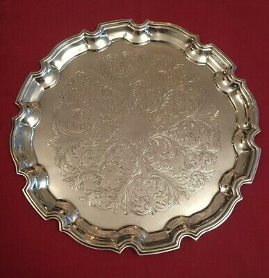 Vintage Silver Plated Tray By Cavalier - 31.5cm Ø