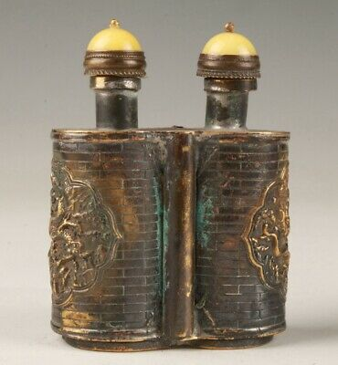 Chinese Old Bronze Hand-Cast Dragon Snuff Bottle Auspicious Gift Collection