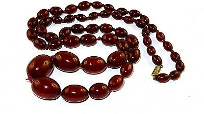 Antique Old Amber Bakelite Cherry Amber Necklace 63 grams