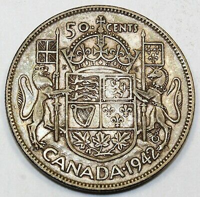 1942 Canada / Canadian Fifty-Cent Half-Dollar - AU About Uncirculated Condition