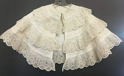Vintage Off White Girls Victorian Cape With Three Level Lace Trim