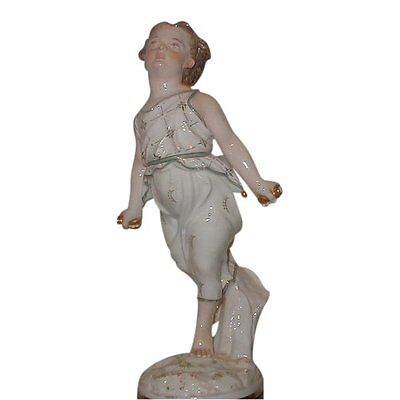 Unusual Antique French Old Paris Porcelain Figure of a Beautiful Girl