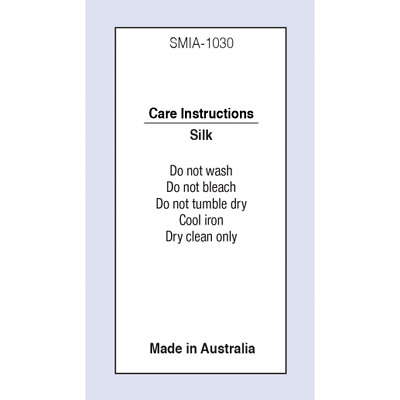 Silk MIA Sewing Washing Care Label on Soft Satin 5 Pack Sizes