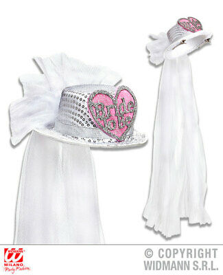 BRIDE TO BE HEART SEQUIN TOP HAT WITH BRIDAL VEIL Accessory for Valentines Love