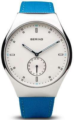 Bering Time - Smart Traveler-Mens Silver Tone Blue Nylon Watch Bluetooth Connect