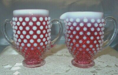 "FENTON GLASS""MINT=PERF~VINTAGE~40s""CRANBERRY""OPALESCENT""HOBNAIL""SUGAR&CREAMER"