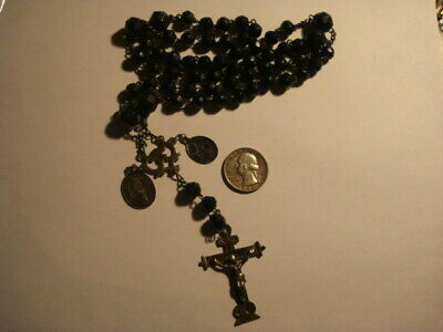 Awesome Antique Spanish Rosary Sterling Silver & Black Amber Balls Xix Century
