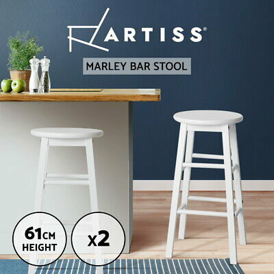 Artiss 2x MARLEY Wood Bar Stools Stool Dining Chair Kitchen Cafe White Barstools