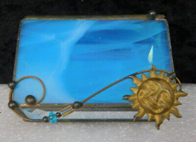 Antique arts & crafts French beveled glass trinket jewelry casket vanity box