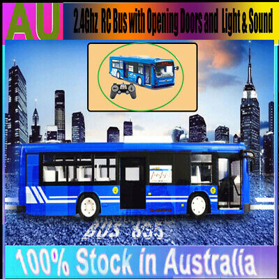Electric RC Bus Car Remote Control Toy Bus Coach Light Simulated Sounds Kid Gift