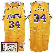 247bfc45 Shaquille O'Neal #34 Los Angeles Lakers Classic Gold Swingman Jersey NEW