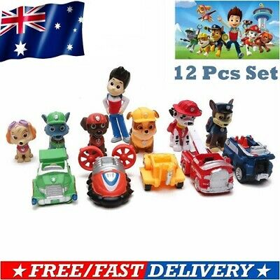 Birthday Gift 12PC Paw Patrol Dog Puppy Rescue Character Toys Figure Cake Topper