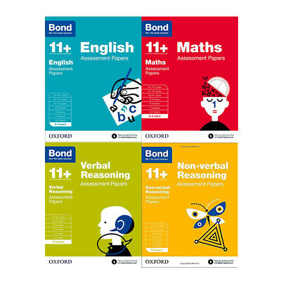 Bond 11+:Assessment Papers Maths, English 5-6 years 4 Books Collection Set NEW