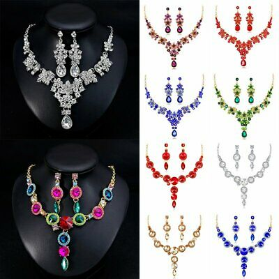 Fashion Wedding Bridal Party Jewelry Set Crystal Rhinestone Necklace Earrings