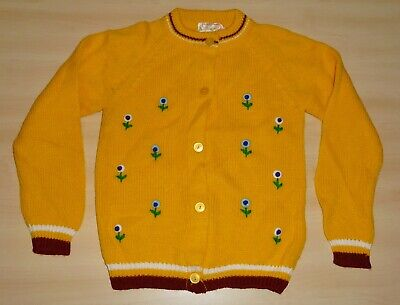 AUTHENTIC VINTAGE 1970's UNWORN GIRLS SUPRANA YELLOW FLORAL CARDIGAN 5-6 YEARS