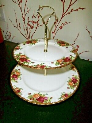 """ROYAL ALBERT """"OLD COUNTRY ROSES"""" TWO TIER CAKE STAND ~ c 1962"""