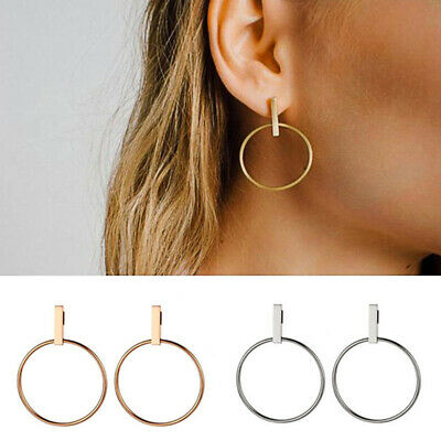 1 Pair Gold Silver Earrings Geometric Round Circle Drop Dangle Charms Jewelry