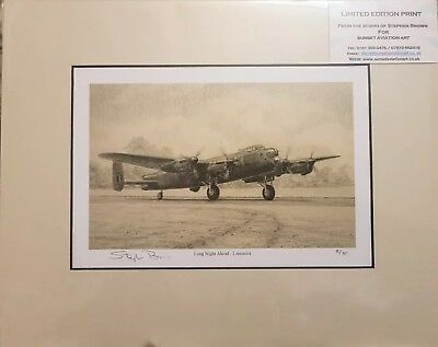 Ltd Edition Aviation Mounted Print Long Night Ahead by Stephen Brown (Lancaster)