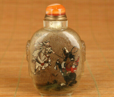 Antique old glass hand inside painting fight alone statue snuff bottle agate lid