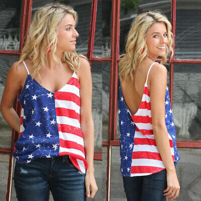 UK Womens Lady July 4th Independence Day V Neck American Flag Print Tops Clothes
