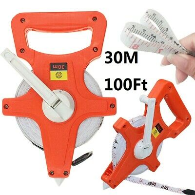 30M 100Ft Flexible Fibreglass Tape Measure Open Reel Surveyors Work Building