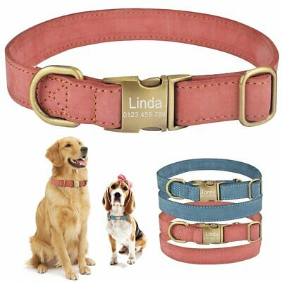 Personalised Leather Dog Collar Pet Custom Engraved ID Name Small Large S M L