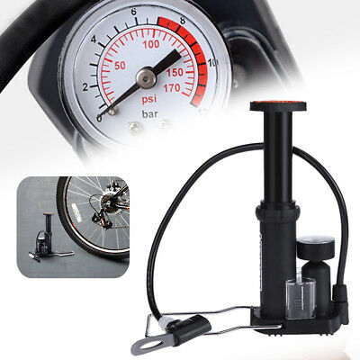 Portable 170PSI Schrader Floor Track Pump With Gauge for Bike Tyre Football