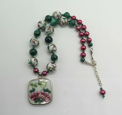 Lovely Chinese Porcelain, Malachite, and Pearl Bead Necklace