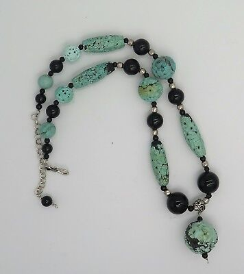 Lovely Chinese Black Onyx and Turquoise Sterling Silver Bead Necklace