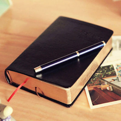 Black Vintage Paper Notebook Notepad PU Leather Journal Diary Sketchbook Book