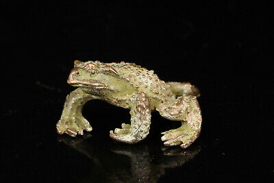China Old Collectible Hand-Carved Red Copper Toad Statue Table Decorati