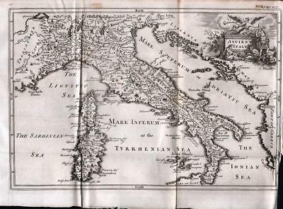 MAP of ANCIENT ITALY 1747 ANTIQUE LINE ENGRAVING