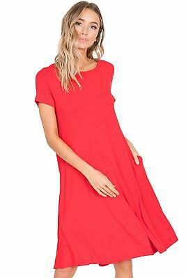 e3f01e85a02b6c Annabelle Women's Comfy Short Sleeve Scoop Neck Swing Dresses with Pockets