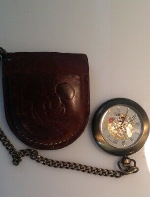 Disney Mickey Mouse Gold Tone Deluxe Face Pocket Watch & Leather  Case