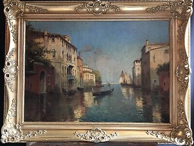 Large Mid 20Th Century German Impressionist Signed Oil - The Grand Canal Venice