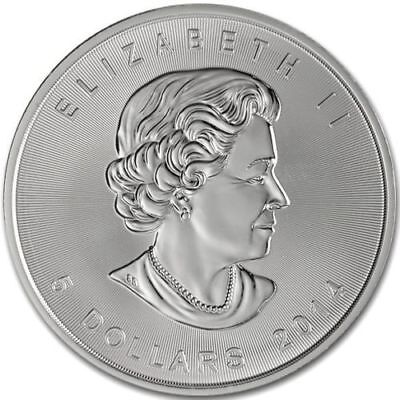 CANADA MAPLE LEAF $5 Dollars 2014 SILVER 1oz coin (.9999) NEW IN CAPSULE
