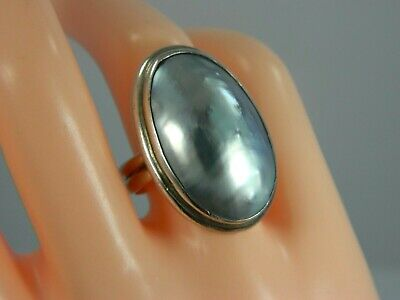 Vintage STERLING SILVER Large Mother of Pearl RING size 7.5