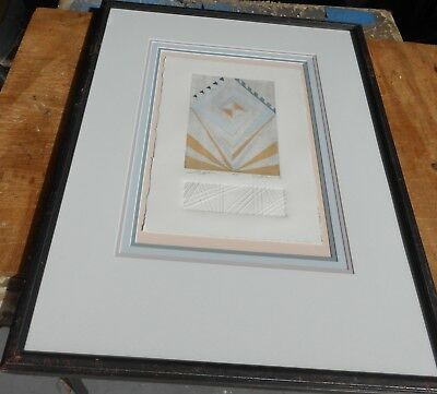 Unusual Vintage A/P Print Frank Lloyd Wright Inspired Signed Titled & Framed